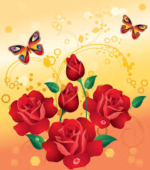 roses and butterflies stock vector illustration of