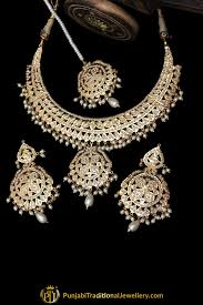 gold pearl necklace set images White jadau pearl necklace set by punjabi taditional jewellery jpg