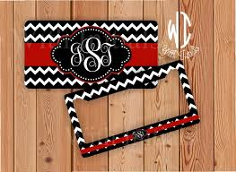 monogrammed plate black and white chevron license plate or frame monogrammed