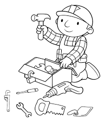 vector of a cartoon bandaged construction guy coloring page