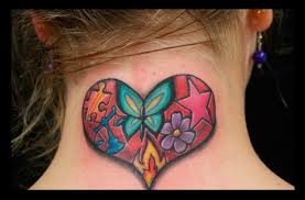 colorful flowers and stars heart tattoo on neck back design for