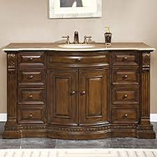 Furniture Bathroom Vanity by Amazon Com Silkroad Exclusive Travertine Top Single Sink Bathroom