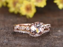 gold wedding set 1 carat morganite gold wedding set diamond bridal ring