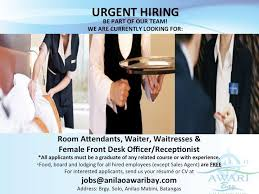 Front Desk Jobs Hiring by Urgent Hiring We Are Currently In Need Anilao Awari Bay