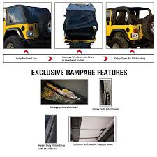 jeep wrangler overhead storage rampage 109535 frameless trail soft top black diamond for 97 06