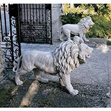 lions statues 1 pair 37 w statley entry lions large garden statues