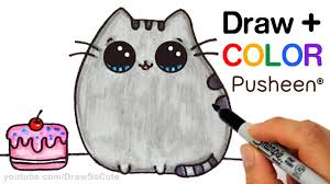 How To Draw Halloween Things Step By Step How To Draw Color Pusheen Cat Step By Step Easy Cute Cartoon Cat