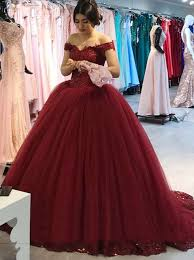 burgundy quince dresses buy gown the shoulder burgundy tulle quinceanera dress