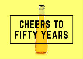 yellow modern beer bottle 50th birthday card templates by canva