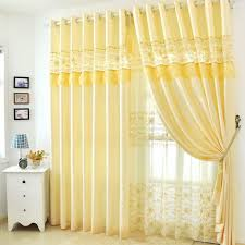 soft yellow lace floral patterned mission style curtains