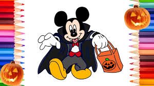 draw mickey minnie mouse halloween coloring pages
