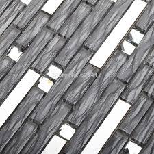 Kitchen Backsplash Stainless Steel Tiles Long Strip Glass Mixed Stainless Steel Metal Mosaic Tiles Kitchen