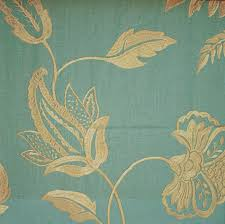 Gold And Teal Curtains Elina Embroidered Linen Fabric Teal Linen With Soft Gold Floral