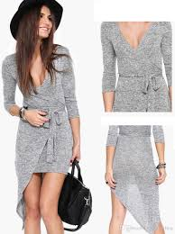 asymmetrical dress 2015 new women grey dress sleeve asymmetrical dress