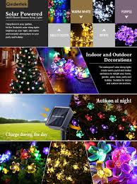Home Button Decorations by Qedertek Solar Christmas String Lights 21ft 50 Led Fairy Blossom