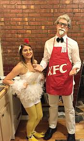 my home made chicken halloween costume and homemade kfc apron