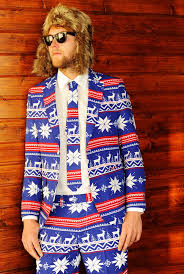 blue ugly christmas sweater suit the rudolph suave christmas suit
