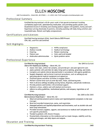 nursing assistant resume exles best certified nursing assistant resume exle livecareer