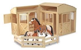 amazon com melissa u0026 doug folding wooden horse stable dollhouse