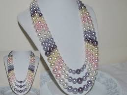 colour pearl necklace images Items similar to multi color 3 strand crystal pearl necklace jpg