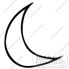 clipart of a crescent moon in black and white royalty free