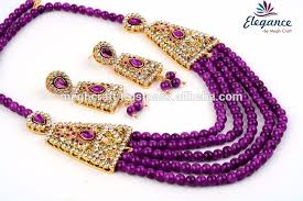 colour pearl necklace images Dark purple color pearl necklace set for girls wholesale imitation jpg