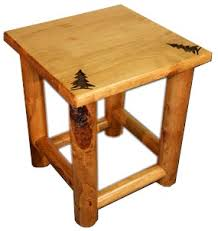 rustic pine end table rocky mountain pine log end table colorado pine log furniture