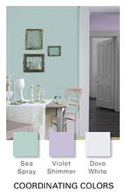 glidden paint color by theme sea spray violet shimmer and dove