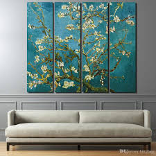 Wall Art Paintings For Living Room 2017 Canvas Paintings Printed Flowering Cherry Trees Wall Art