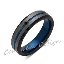 gunmetal wedding band 6mm black diamond brushed gun metal gray and black blue tungsten