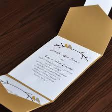 birds card and gold pocket wedding invites with