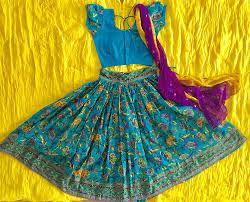 peacock blue gopi skirt for kids u2022 indian ethnic wear u2022 gopi skirt