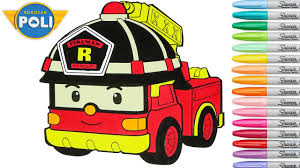 robocar poli coloring book pages fire truck roy episode trucks for