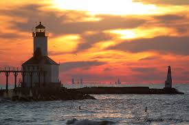 michigan city indiana washington park beach lighthouse with