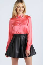 leather blouse all sizes shiny coral button up blouse black leather skirt