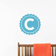 personalised letter monogram wall sticker by little chip personalised letter monogram wall sticker sky blue option