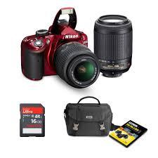 nikon d3200 24 2mp red dslr bundle with 18 55mm vr lens 55 200mm