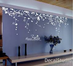 living room wall stickers white vinyl sticker wall decal for bedroom living room flower