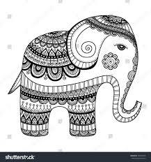 indian elephant hand drawn doodle bishop stock vector 326549678