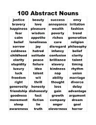 Nouns Worksheet 3 Abstract Noun Lists Abstract Noun List Of 27 Examples 100
