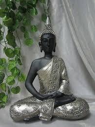 pair set decorative gold brown resting thai buddha statue
