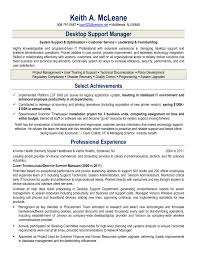 It Manager Sample Resume by Desktop Support Resume Sample Resume For Your Job Application