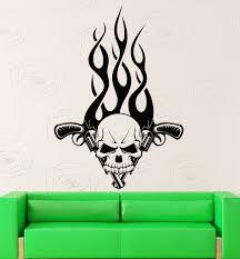 online get cheap wall tattoos decals aliexpress com alibaba group new wall stickers vinyl decal skull gun revolver tattoo fire mafia decor free shipping china