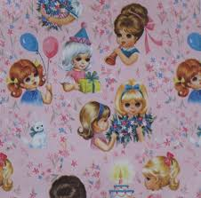 vintage juvenile birthday gift wrap wrapping paper 1960s girls