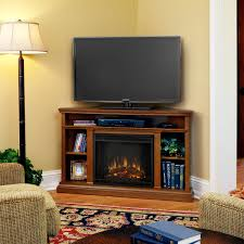 tv media furniture stylish dark brown fireplace built in corner