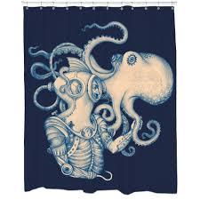 Sourpuss Shower Curtain Kraken Shower Curtain Octopus Or Squid