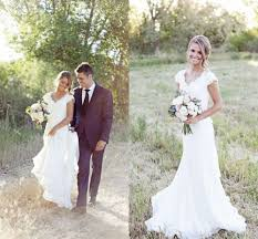 v neck lace wedding dress mermaid western country cap sleeve