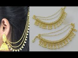 earring chain necklace images Traditional south indian side ear chains designs jpg
