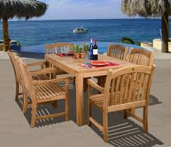 Modern Teak Outdoor Furniture by Amazon Com Amazonia Teak Oslo 7 Piece Teak Dining Rectangular
