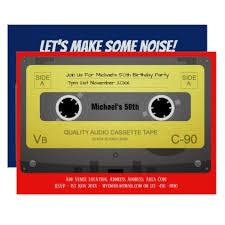 retro 50th birthday man invite music cassette 70s birthday